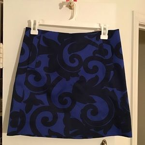 J.CREW SZ 0 Blue Black Scroll Skirt A-Line